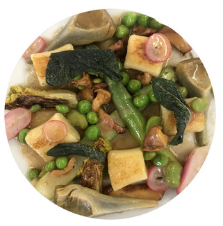 Gnocchi with Spring Vegetables and Sage Butter