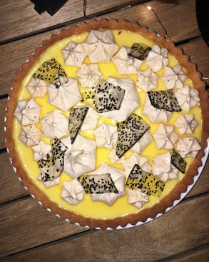 Yuzu and Lemon Tart with Black Sesame Meringue