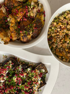 Citrus & Za'atar Roast Chicken, Cumin Roasted Aubergine and Maftoul with Chickpeas and Apricots