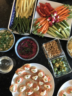 Crudités and Smoked Salmon Horseradish Blinis