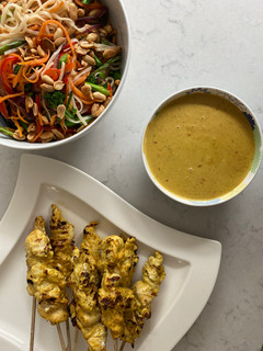 Chicken Satay Skewers and Rice Noodles with Ginger, Garlic and Toasted Peanuts