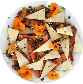 Chargrilled Carrot Salad with Orange, Nuts, Raisins and Manchego
