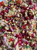 Jewelled Cous Cous with Pickled Onions, Pine Nuts, Pomegranate and Herbs