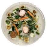 Pancetta Wrapped Rabbit Loin with Tarragon Gnocchi and Confit Leg Bon Bon