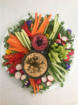 Fresh Crudités with a Beetroot and Coriander Dip and a Butterbean and Rosemary Dip