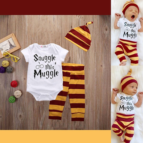 Snuggle This Muggle 3piece Set Cotton Romper Onesies Jumpsuits