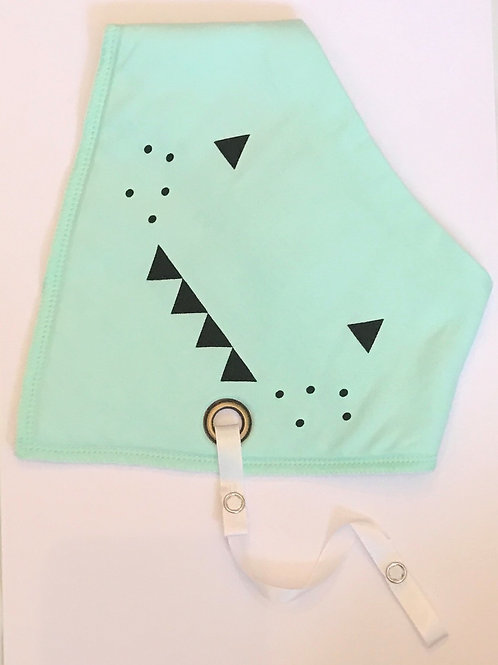 Baby Cartoon print double layered dribble bib with dummy clip -Green Monster