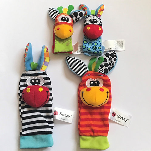 New Hot Toy Baby Rattle Toys Garden Bug Wrist Rattle and Foot Socks