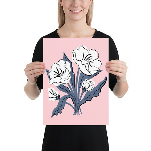 Modern White Floral on Pink Art Print by Tara Reed