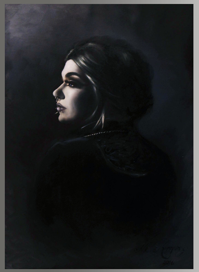 Side Profile of a Goth, (2016) oils on canvas, 60cm x 42cm