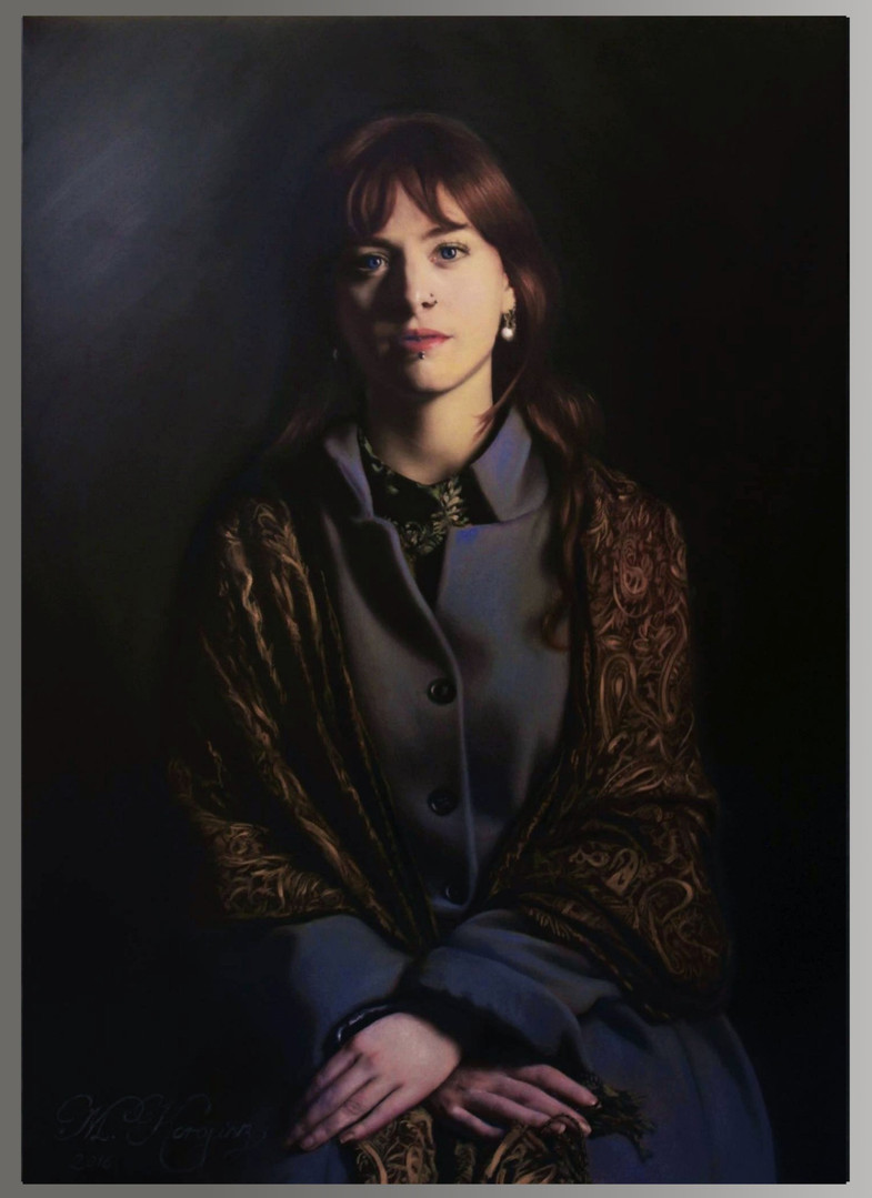Girl in the Paisley Shawl (2016), oils on canvas, 60cm x 42cm, Sold
