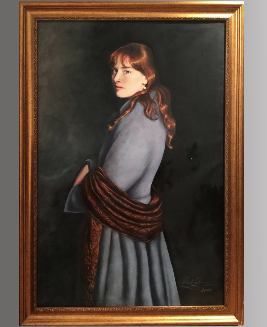 Girl in the Paisley Shawl (2019), oils on canvas, 130cm x 85cm, Sold