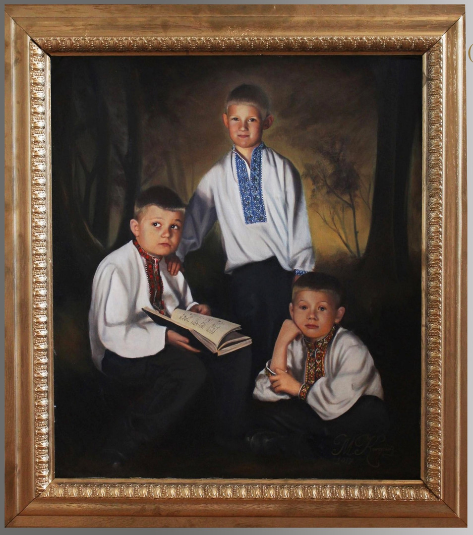 'Three Little Cossacks', (2017) oils on canvas, 90cm x 80cm, commission