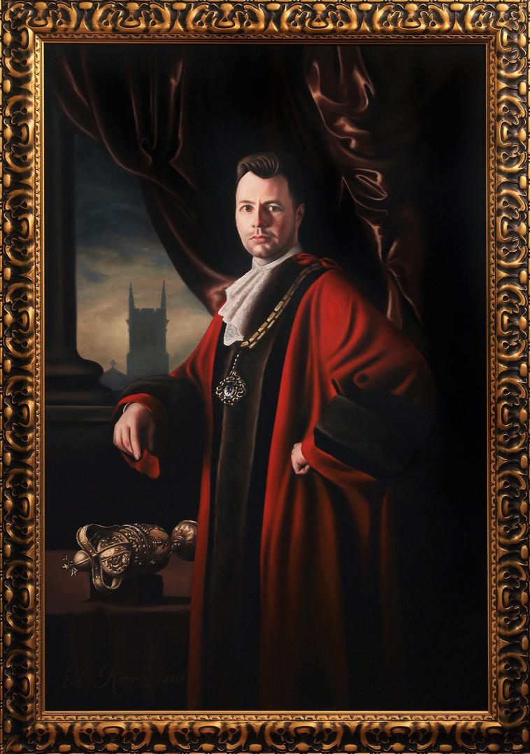 'Cllr. Adam Schofield,  Former Mayor of Macclesfield' (2019), oils on canvas, 100cm x 140cm, Macclesfield Town Hall