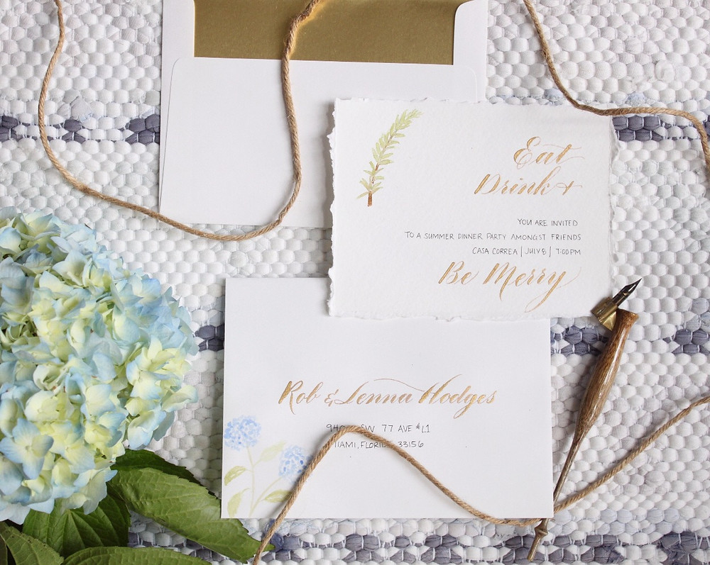 Hand calligraphed invitations & envelopes