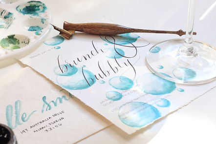 Modern Miami Calligraphy Wedding and Party Custom Watercolor Invitations