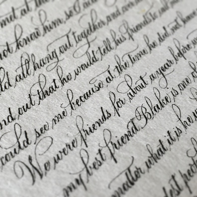 Hand Calligraphed Wedding Vows