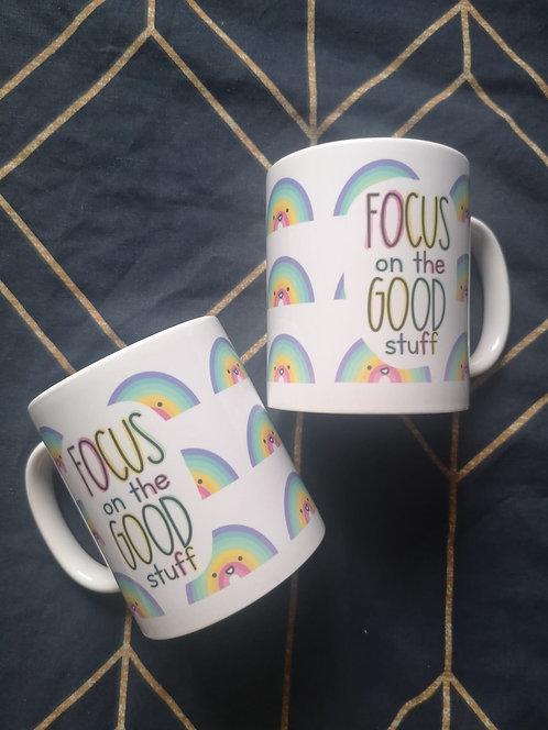 FADED Focus on the Good Stuff Rainbow 11oz Mug SECONDS SALE