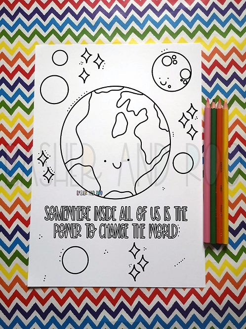 Power to Change the World Colouring Page