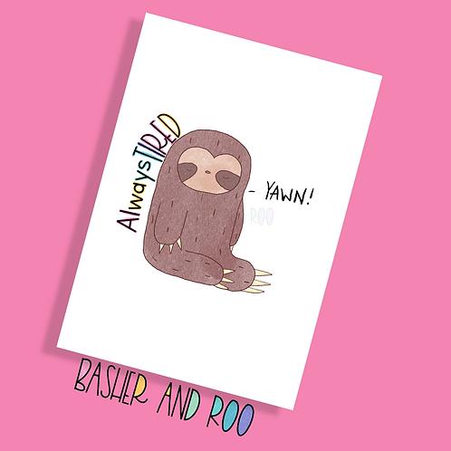 Always Tired Sloth Postcard