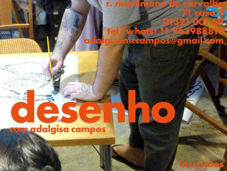 Aulas de desenho com ADALGISA CAMPOS na Casateliê