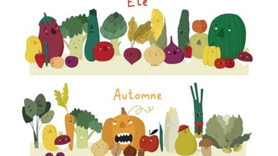 """LA LUNETTE-Poster """"Calendrier des fruits et légumes de saison""""-A3-Papier recyclé"""