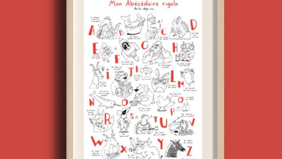 LE LUNETTE-Poster à colorier « Mon abécédaire rigolo »-Papier recyclé-A3