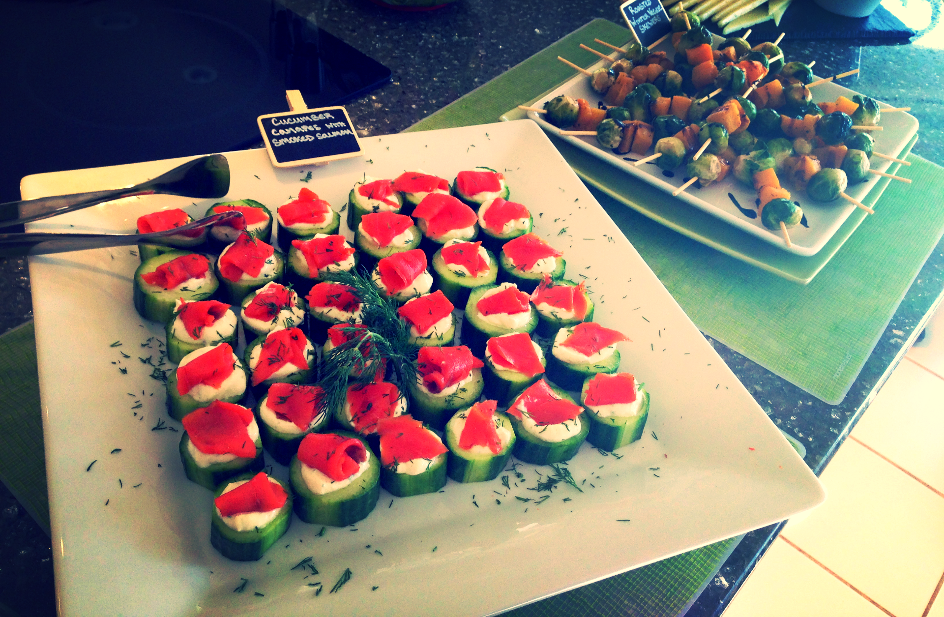 Cucumber Canapes with a Greek Yogurt Goat Cheese Filling and Smoked Salmon