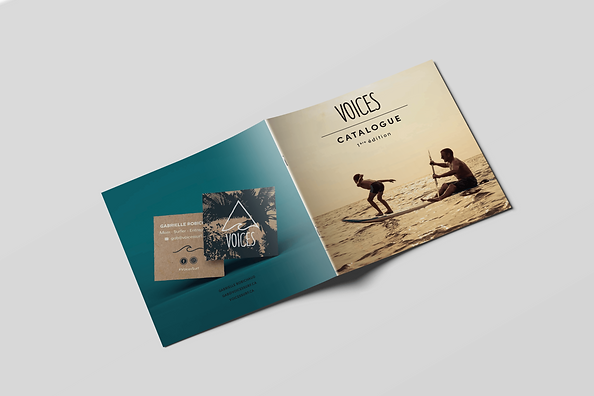Voices magazine, front and last page, adult and kid on a paddle board with a sunset of the front page, voices business card on the back