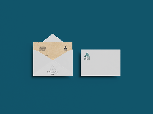 Envelope with Voices logo and letterhead
