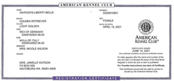 Watson's Liberty Belle AKC Registration Certificate