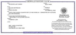 Watson's Lady Sansa AKC Registration