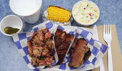 Three Meat Combo with Side Dishes