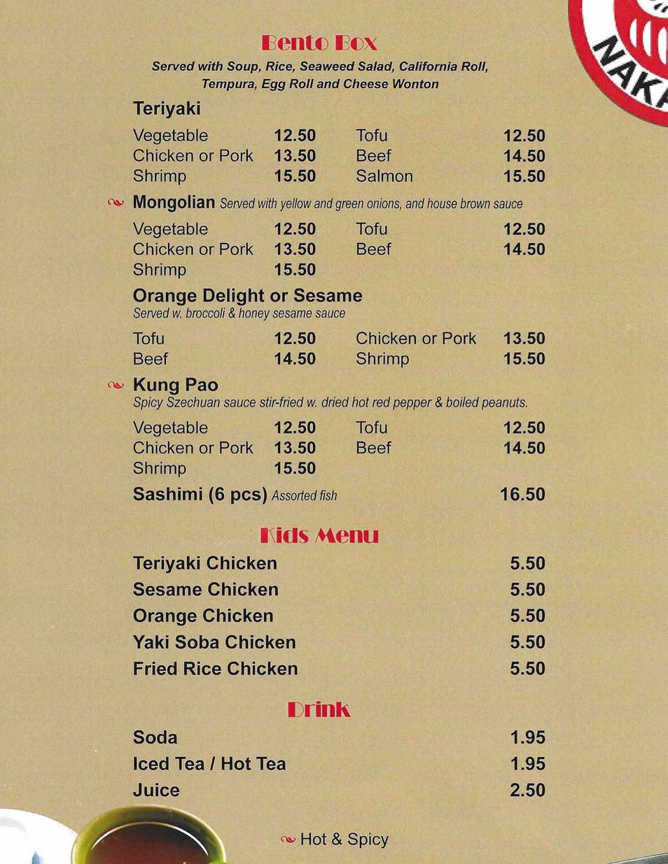 Current menu 4