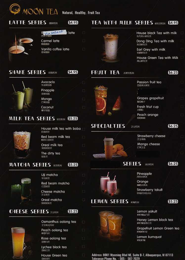 Moon Tea Menu