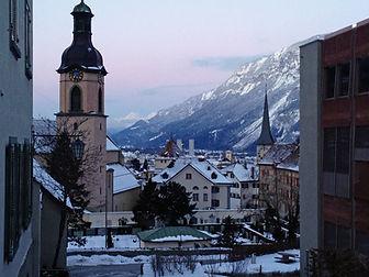 Catholic cathedral and Alps Chur Switzerland