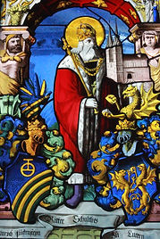 Saint King Henry II Switzerland stained glass window