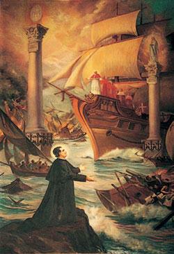 Vision de Don Bosco avec le navire ancré en toute sécurité entre deux piliers - Rosaire dans toute la Suisse