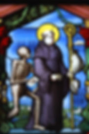 St. Fridolin and skeleton stained glass window Bad Sackingen Germany Switzerand