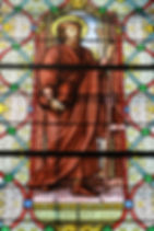 St. Fromond hermit Switzerland stained glass window