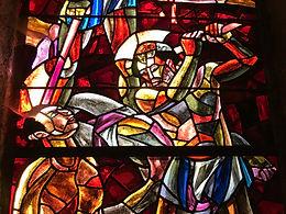 beheading of St. Maurice Saint-Maurice Switzerland stained glass window Catholic