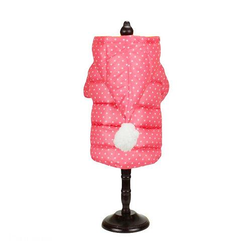Pink pompom overcoat