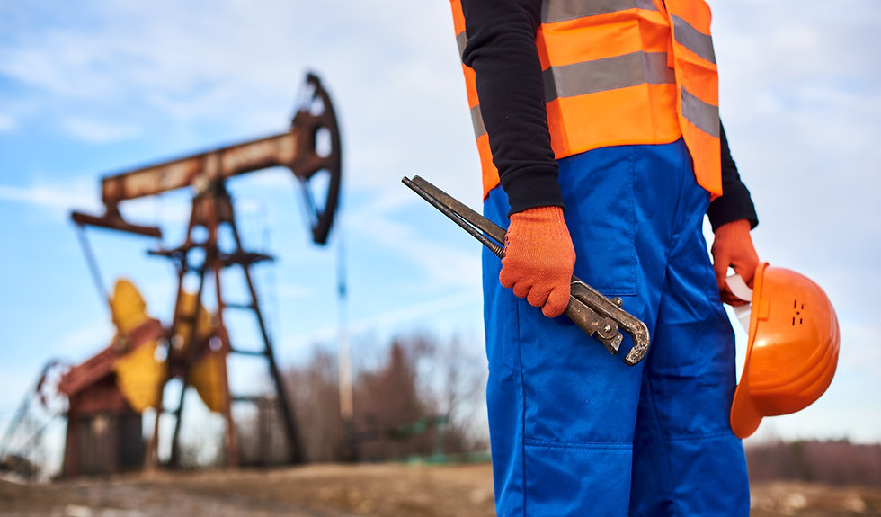 Close up of petroleum operator in work o