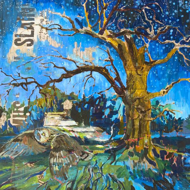 """Mussulini Slain! Forest St. Burr Oak and Short Eared Owl"