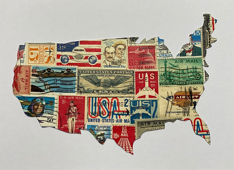 USA map - Aviation Postage Stamps