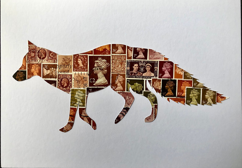 The Quick Brown Fox Vintage Stamp Picture