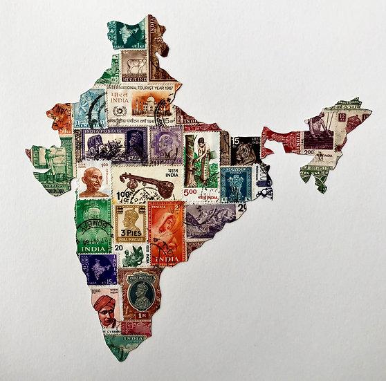 Original Hand Cut India stamp Picture