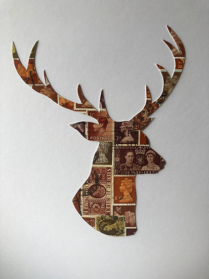Stag Head Vintage Postage Stamp Picture