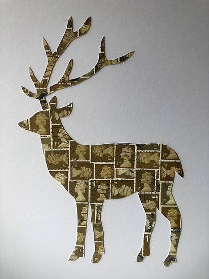First Class Stag Vintage Stamp Picture