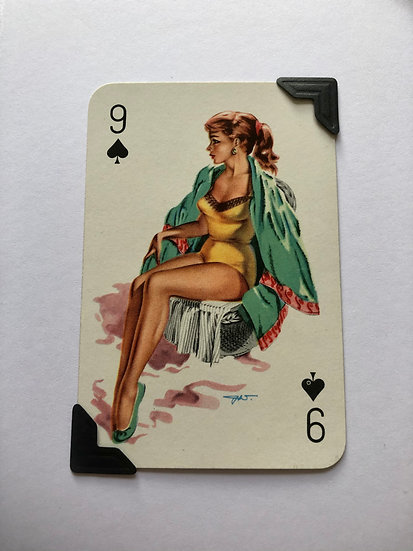 Pin Up Nine of Spades Greetings Card